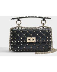 Valentino - Rockstud Spike Small Shoulder Bag In Black Calfskin - Lyst