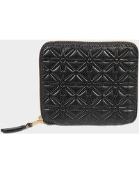 Comme des Garçons - Embossed Leather Linene Zip Around Squared Wallet - Lyst