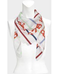 Sonia Rykiel - 175x175 Stripes Square Scarf In White Multi Twill Silk - Lyst