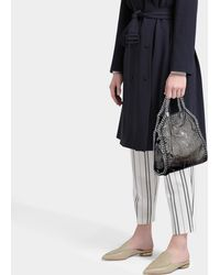 Stella McCartney - Mini Shiny Dotted Chamois Falabella Tote In Metallic Synthetic Material - Lyst