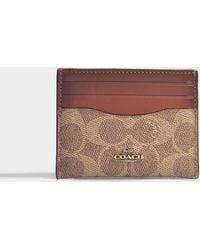 COACH - Colorblock Signature Flat Card Case In Rust Brown Canvas - Lyst