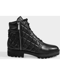 MICHAEL Michael Kors - Quilted Rosario Combat Boots In Black Calfskin - Lyst
