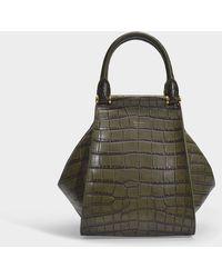Max Mara - Anita Small Tote Bag In Kaki Green Croc Embossed Calf Leather - Lyst