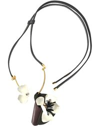 Marni - Flower Necklace In Leather And Crystals - Lyst