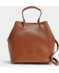 Hogan - Iconic Senza Piping Bucket Tote In Brown Grained Calfskin - Lyst