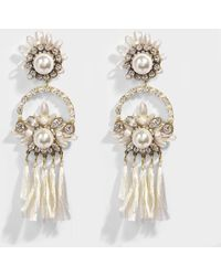 Shourouk - Malena White Earrings In White Brass, Raffia, Swarovski Crystals And Pearls - Lyst