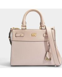 MICHAEL Michael Kors - Mott Uptown Mini Messenger Bag In Soft Pink Small Pebble Leather - Lyst