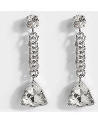 Christopher Kane - Crystal Short Drop Mono Earring In Crystal Brass - Lyst