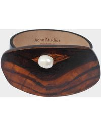 Acne Studios - Erin Bracelet In Black Leather And Wood - Lyst