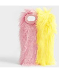 Charlotte Simone - Fluff Phone Case In Lemon Yellow And Pastel Pink Acrylic - Lyst