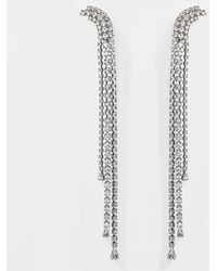 Helene Zubeldia - Palace Long Clip Earrings With Crystals In Metallic Crystals And Ruthenium - Lyst