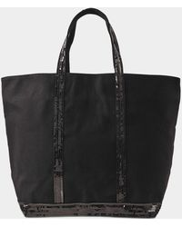 Vanessa Bruno - Canvas And Sequins Medium + Zipped Tote In Black Cotton - Lyst