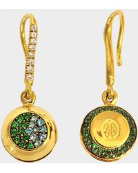 Aurelie Bidermann - Fine Jewellery - 18k Gold Grelot Earrings With Tourmalinene And Tsavorite - Lyst