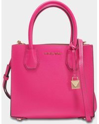 MICHAEL Michael Kors - Mercer Medium Messenger Bag In Pink Calfskin - Lyst