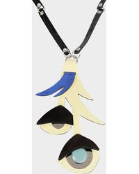 Marni - Necklace With Flower In Corn Metal Leather - Lyst