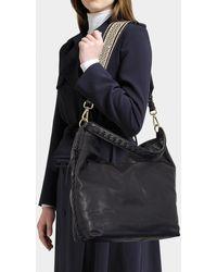 Vanessa Bruno - Suede Leather Hobo Bag In Black Calfskin - Lyst
