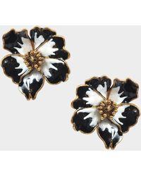 Sonia Rykiel - Flowers Earrings In Black And White Metal And Enamel - Lyst