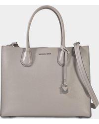 47b192ce45c2 MICHAEL Michael Kors - Mercer Large Convertible Tote Bag In Pearl Grey Pebbled  Leather - Lyst