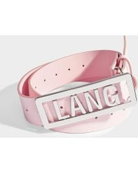 Helmut Lang - Lang Name Plate Belt In Pink Leather - Lyst