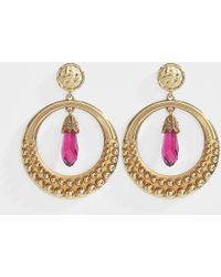 Roberto Cavalli - Metal And Strass Earrings In Golden Brass And Pink Strass - Lyst