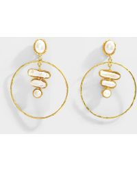 Sylvia Toledano - Baroque 3 Stones Earrings In 18k Gold Plated Brass And Pearl - Lyst