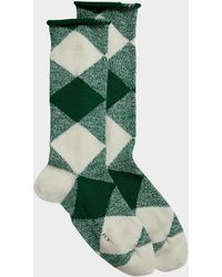 Burberry - Army Check Socks In Emerald Green Wool - Lyst
