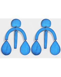 Annie Costello Brown - Pom Pom Earrings In Blue Oxide Brass - Lyst
