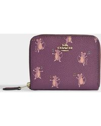 COACH - Mouse Print Small Zip Around - Lyst