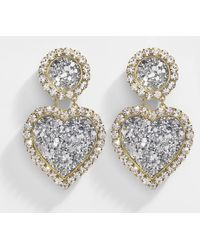 Shourouk - Mini Marilyn Earrings In Gold Plated Brass And Silver Strass - Lyst