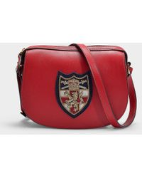 Polo Ralph Lauren - Small Red Leather Crossbody Bag With Front Patch - Lyst f04d81763c4c0