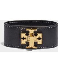 Tory Burch - Logo Single Wrap Bracelet In Black Calfskin - Lyst