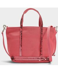 Vanessa Bruno - Canvas And Sequins Baby Tote In Pink Sorbet Cotton - Lyst