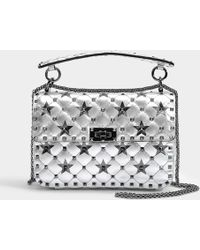 Spike.It Medium Shoulder Bag in Silver and Black Metallic Calf Valentino on0nV