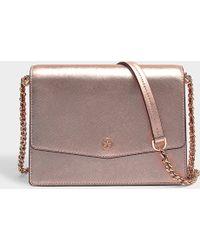6f9f4063d2f4 Tory Burch - Robinson Metallic Shoulder Bag In Rose Gold Saffiano Calfskin  - Lyst