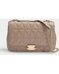 MICHAEL Michael Kors Sloan Large Chain Shoulder Bag In Truffle Quilted Lambskin