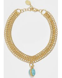 Sylvia Toledano - Stone Massaii Bracelet In Gold-plated Brass With Turquoise Chain - Lyst
