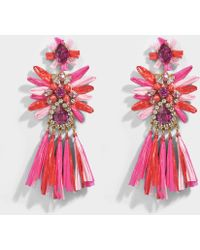 Shourouk - Sicily Pink Earrings In Pink Brass, Raffia And Swarovski Crystals - Lyst