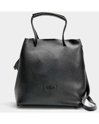 Hogan - Seau Iconic Senza Piping Tote In Black Grained Calfskin - Lyst