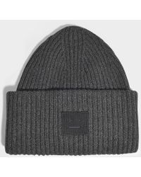 4c890761e12 Acne Studios - Pansy N Face Beanie In Charcoal Melange Wool - Lyst