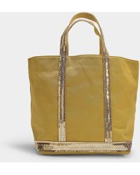 Vanessa Bruno - Cabas Moyen Tote In Yellow Canvas And Sequins - Lyst