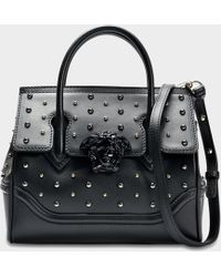 Versace - Palazzo Empire Small Bag In Black Calf And Studs - Lyst