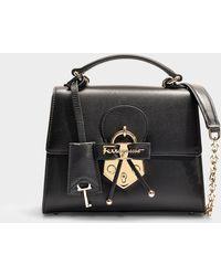 Ferragamo - Funny Lock Letty Small Bag In Black Calfskin - Lyst