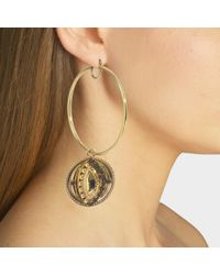 Roberto Cavalli - Hand And Eye Asymetrical Earrings In Strass And Golden Brass - Lyst
