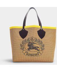 Burberry - Grand Cabas The Giant avec Crest en Coton Tricoté Vintage Check Beige, Jaune et Noir - Lyst