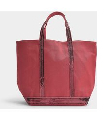 Vanessa Bruno - Cabas Moyen+ Tote In Red Canvas And Sequins - Lyst