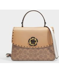 85788a4834a45 COACH - Parker Top Handle Bag In Tan And Beechwood Calfskin - Lyst