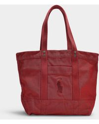 Polo Ralph Lauren - Large Pp Tote In Scarlet Canvas - Lyst