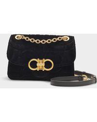 Ferragamo - Gancio Quilting Medium Bag In Velvet In Black Cotton - Lyst