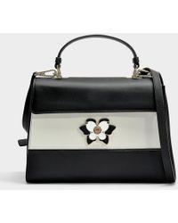 Furla - Mughetto Medium Top Handle Bag In Black And White Calfskin - Lyst