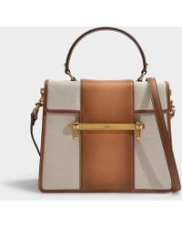 68932d8f3d6 Valentino - Uptown Top Handle Bag In Natural And Bright Cognac Canvas And  Calfskin - Lyst